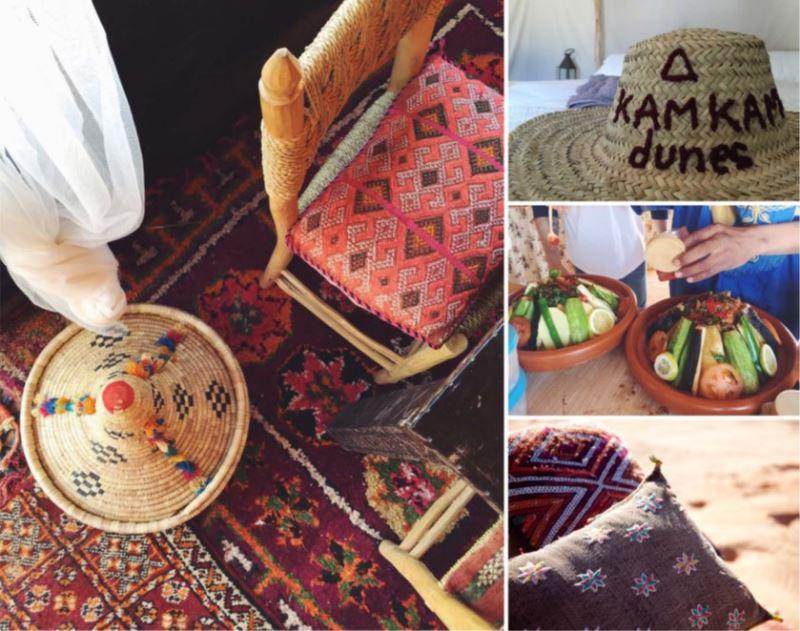 Estilo boho chic de lujo en las dunas de Erg Chebbi campamento nomada autentico y tradicional